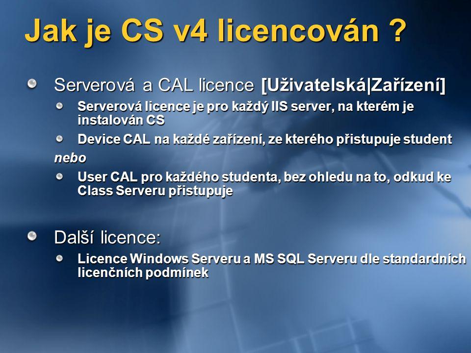 Jak je CS v4 licencován Serverová a CAL licence [Uživatelská|Zařízení] Serverová licence je pro každý IIS server, na kterém je instalován CS.